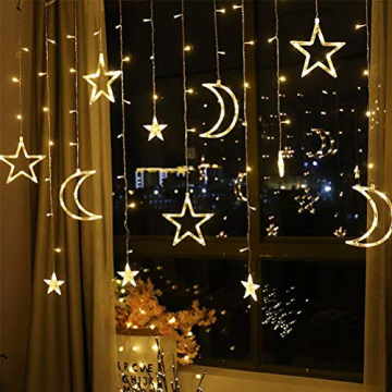Fangteke LED Lichterketten 3.5M Stern Mond Vorhang Lichter LED Girlande Dekorative Lampe für Hochzeit Hausgarten Weihnachten Fenster Vorhang Dekoration - 4