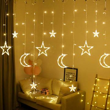 Fangteke LED Lichterketten 3.5M Stern Mond Vorhang Lichter LED Girlande Dekorative Lampe für Hochzeit Hausgarten Weihnachten Fenster Vorhang Dekoration - 1