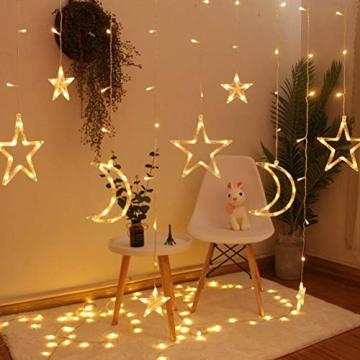 Fangteke LED Lichterketten 3.5M Stern Mond Vorhang Lichter LED Girlande Dekorative Lampe für Hochzeit Hausgarten Weihnachten Fenster Vorhang Dekoration - 7
