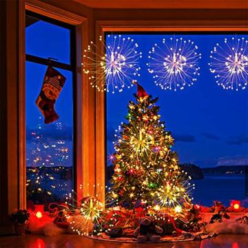 Feuerwerk Lichterketten, 4 Stücke Starburst Lichter Feuerwerk LED Licht Kupferdraht Feuerwerk Lichter Weihnachten Feuerwerk Zeichenfolge 8 Modi wasserdicht mit Fernbedienung - 6