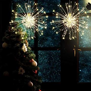 Feuerwerk Lichterketten, 4 Stücke Starburst Lichter Feuerwerk LED Licht Kupferdraht Feuerwerk Lichter Weihnachten Feuerwerk Zeichenfolge 8 Modi wasserdicht mit Fernbedienung - 8