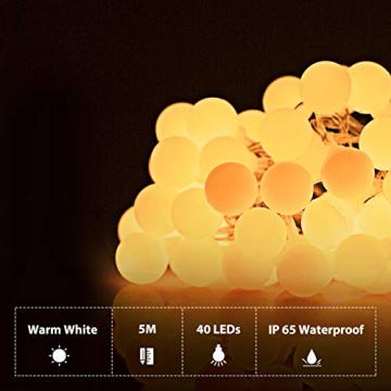 Fulighture Led Kugel Lichterkette, 5M(16.41FT) 40er Globe Led, Batteriebetrieben, 2700K Warmweiß, IP65 Wasserdicht, Ideal für Weihnachten, Party, Garten, Hochzeit, Balkon, Deko, - 2