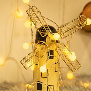 Fulighture Led Kugel Lichterkette, 5M(16.41FT) 40er Globe Led, Batteriebetrieben, 2700K Warmweiß, IP65 Wasserdicht, Ideal für Weihnachten, Party, Garten, Hochzeit, Balkon, Deko, - 3