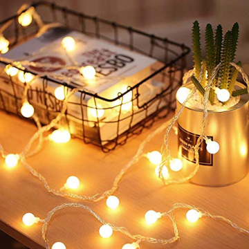 Fulighture Led Kugel Lichterkette, 5M(16.41FT) 40er Globe Led, Batteriebetrieben, 2700K Warmweiß, IP65 Wasserdicht, Ideal für Weihnachten, Party, Garten, Hochzeit, Balkon, Deko, - 5