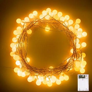 Fulighture Led Kugel Lichterkette, 5M(16.41FT) 40er Globe Led, Batteriebetrieben, 2700K Warmweiß, IP65 Wasserdicht, Ideal für Weihnachten, Party, Garten, Hochzeit, Balkon, Deko, - 6