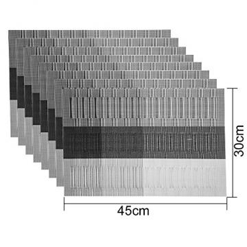 GODTEN Platzdeckchen (8er Set) Platzset Abwischbar - Hitzebeständig und Abgrifffeste Waschbare Tischmatte - Grau Tischset Kunststoff für Küche Speisetisch - 30x45cm (8er, A3) - 5