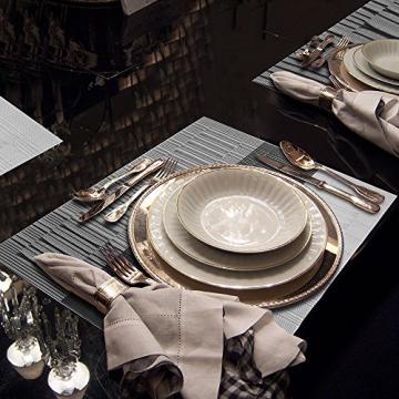 GODTEN Platzdeckchen (8er Set) Platzset Abwischbar - Hitzebeständig und Abgrifffeste Waschbare Tischmatte - Grau Tischset Kunststoff für Küche Speisetisch - 30x45cm (8er, A3) - 6