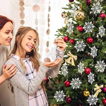 GOLRISEN 24 Stück Weihnachten Schneeflocken Anhänger Weihnachtsbaum Deko Glitzer Weihnachtsdeko Schneeflocke Weiß Christbaumschmuck Schneeflockendeko für Weihnachtsdeko Fensterdeko Winterdeko 10cm - 5