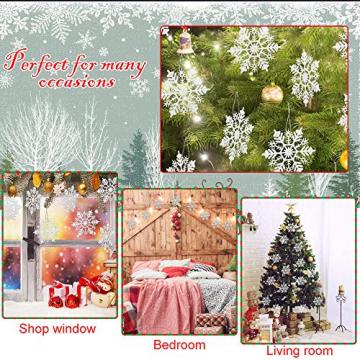 GOLRISEN 24 Stück Weihnachten Schneeflocken Anhänger Weihnachtsbaum Deko Glitzer Weihnachtsdeko Schneeflocke Weiß Christbaumschmuck Schneeflockendeko für Weihnachtsdeko Fensterdeko Winterdeko 10cm - 6