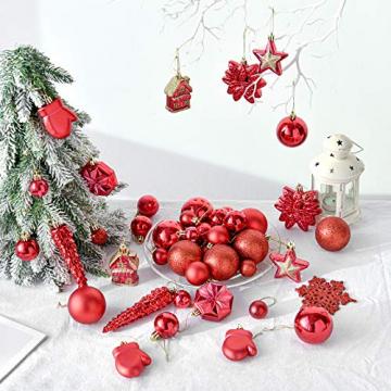 HAIGOU 113 Weihnachtskugeln Christbaumschmuck Aufhänger Christbaumkugeln für den Weihnachtsbaum Weihnachtsbaumschmuck Weihnachtsbaumkugeln (Rot) - 3