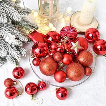 HAIGOU 113 Weihnachtskugeln Christbaumschmuck Aufhänger Christbaumkugeln für den Weihnachtsbaum Weihnachtsbaumschmuck Weihnachtsbaumkugeln (Rot) - 4
