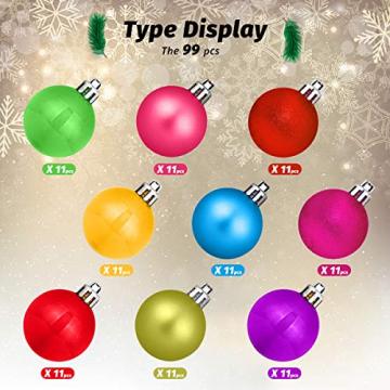 HBHS Christbaumkugeln, Suddefr Weihnachtskugel, 99 Teilig, 3CM, Weihnachtsbaumschmuck, Kunststoff, Baumschmuck für Urlaub, Hochzeit, Partydekoration. - 3