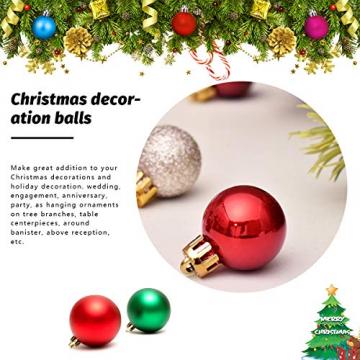 HBHS Christbaumkugeln, Suddefr Weihnachtskugel, 99 Teilig, 3CM, Weihnachtsbaumschmuck, Kunststoff, Baumschmuck für Urlaub, Hochzeit, Partydekoration. - 5