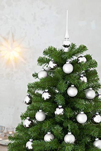 HEITMANN DECO 21er Set Glaskugeln+ Baumspitze - Weihnachtsbaumschmuck zum Aufhängen - Christbaumkugeln - Silber - Glitzer - 4