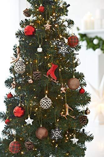 HEITMANN DECO 31er Set Christbaumkugeln Sortiment - Weihnachtsschmuck zum Aufhängen - Kunststoff Christbaumschmuck rot Natur Silber - 3