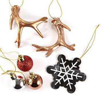 HEITMANN DECO 31er Set Christbaumkugeln Sortiment - Weihnachtsschmuck zum Aufhängen - Kunststoff Christbaumschmuck rot Natur Silber - 4