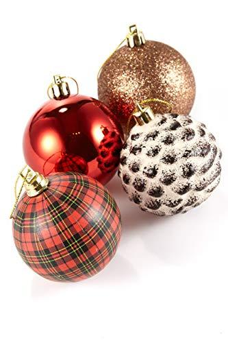 HEITMANN DECO 31er Set Christbaumkugeln Sortiment - Weihnachtsschmuck zum Aufhängen - Kunststoff Christbaumschmuck rot Natur Silber - 5