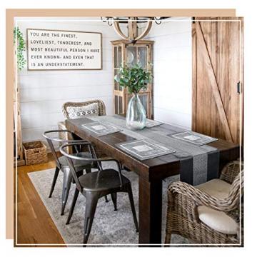 Hivexagon Platzsets und Tischläufer Set, Ellegant Tischdekoration für Hochzeit, Party, Thanksgiving,Weihnachten, mit Diamante Streifen und Quasten, Grau HG575 - 4