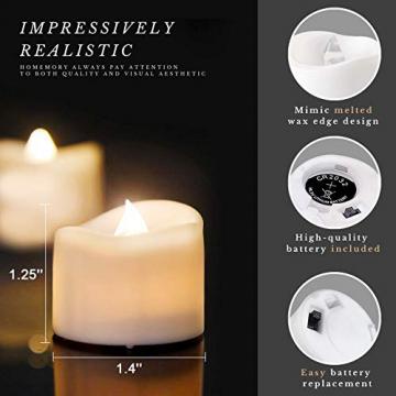 Homemory 12 Stück Teelichter Flackern mit Fernbedienung, Elektrische Batterie LED Kerzen, inklusive Batterien, Deko für Weihnachten, Hochzeit, Party, Warmweiße Lichter - 3