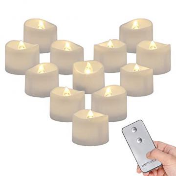 Homemory 12 Stück Teelichter Flackern mit Fernbedienung, Elektrische Batterie LED Kerzen, inklusive Batterien, Deko für Weihnachten, Hochzeit, Party, Warmweiße Lichter - 1