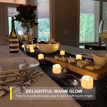 Homemory 12 Stück Teelichter Flackern mit Fernbedienung, Elektrische Batterie LED Kerzen, inklusive Batterien, Deko für Weihnachten, Hochzeit, Party, Warmweiße Lichter - 5