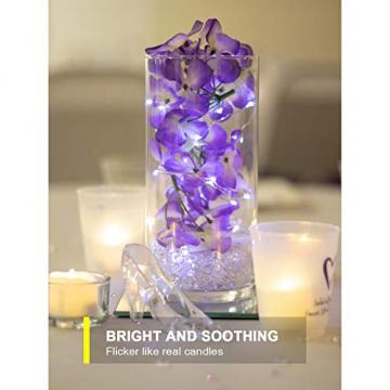Homemory 12 Stück Teelichter Flackern mit Fernbedienung, Elektrische Batterie LED Kerzen, inklusive Batterien, Deko für Weihnachten, Hochzeit, Party, Warmweiße Lichter - 6