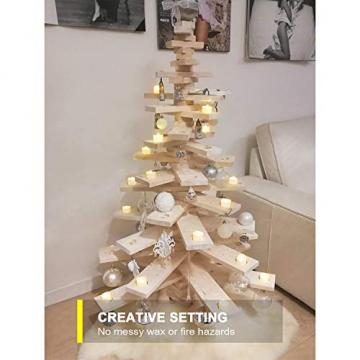 Homemory 12 Stück Teelichter Flackern mit Fernbedienung, Elektrische Batterie LED Kerzen, inklusive Batterien, Deko für Weihnachten, Hochzeit, Party, Warmweiße Lichter - 7