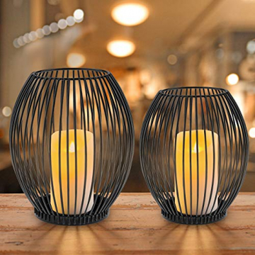 innislink Kerzenständer 2er Set, Metall Kerzenhalter Oval Kerzenleuchter Windlicht Schwarz Vintage Kerzen Ständer Teelichthalter für Deko Wohnzimmer Tischdeko Weihnachts Hochzeit -14 x 15cm, 16 x 18cm - 1