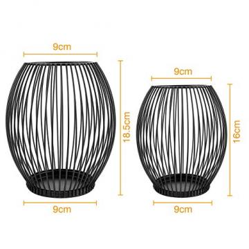 innislink Kerzenständer 2er Set, Metall Kerzenhalter Oval Kerzenleuchter Windlicht Schwarz Vintage Kerzen Ständer Teelichthalter für Deko Wohnzimmer Tischdeko Weihnachts Hochzeit -14 x 15cm, 16 x 18cm - 5