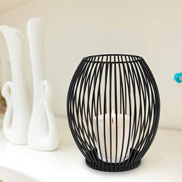 innislink Kerzenständer 2er Set, Metall Kerzenhalter Oval Kerzenleuchter Windlicht Schwarz Vintage Kerzen Ständer Teelichthalter für Deko Wohnzimmer Tischdeko Weihnachts Hochzeit -14 x 15cm, 16 x 18cm - 7