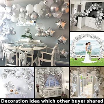 iZoeL 100Stk Silber Weiß Luftballon Girlande Kit Konfetti Luftballon + Ballongirlande Streifen für Geburtstag Mann Hochzeit Taufe Junge (Silber) (Silber) - 4