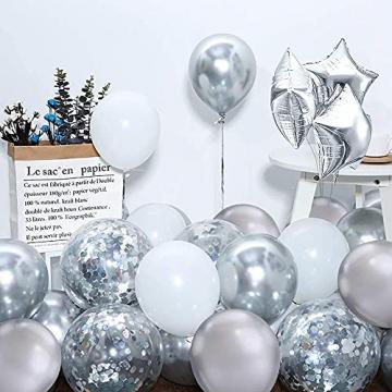 iZoeL 100Stk Silber Weiß Luftballon Girlande Kit Konfetti Luftballon + Ballongirlande Streifen für Geburtstag Mann Hochzeit Taufe Junge (Silber) (Silber) - 5