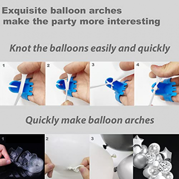 iZoeL 100Stk Silber Weiß Luftballon Girlande Kit Konfetti Luftballon + Ballongirlande Streifen für Geburtstag Mann Hochzeit Taufe Junge (Silber) (Silber) - 6