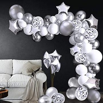 iZoeL 100Stk Silber Weiß Luftballon Girlande Kit Konfetti Luftballon + Ballongirlande Streifen für Geburtstag Mann Hochzeit Taufe Junge (Silber) (Silber) - 8