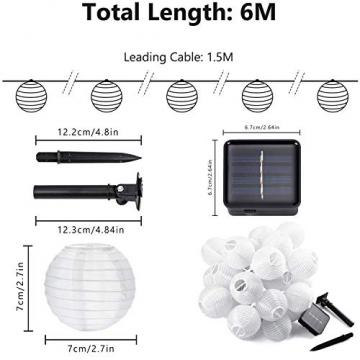 Joomer Solar Lichterkette Lampion Außen, 6M 30er LED IP65 Wasserdicht Lampion/Laternen Solar Lichterkette Auße Beleuchtung für Garten, Terrasse, Hof, Haus, Weihnachten Deko(Warmweiß) - 3