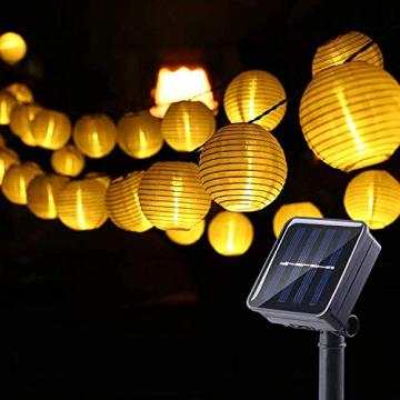 Joomer Solar Lichterkette Lampion Außen, 6M 30er LED IP65 Wasserdicht Lampion/Laternen Solar Lichterkette Auße Beleuchtung für Garten, Terrasse, Hof, Haus, Weihnachten Deko(Warmweiß) - 1