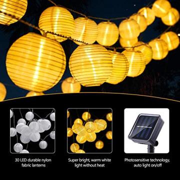 Joomer Solar Lichterkette Lampion Außen, 6M 30er LED IP65 Wasserdicht Lampion/Laternen Solar Lichterkette Auße Beleuchtung für Garten, Terrasse, Hof, Haus, Weihnachten Deko(Warmweiß) - 6