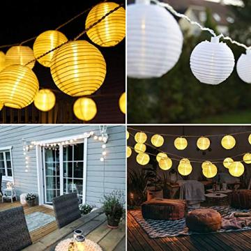 Joomer Solar Lichterkette Lampion Außen, 6M 30er LED IP65 Wasserdicht Lampion/Laternen Solar Lichterkette Auße Beleuchtung für Garten, Terrasse, Hof, Haus, Weihnachten Deko(Warmweiß) - 7