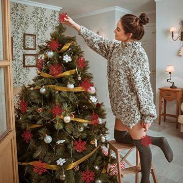 K KUMEED 36 Stück Weihnachtsbaum Deko Schneeflocken Deko Schneeflocken Christbaumschmuck Deko für den Weihnachtsbaum, Schneeflocken Weihnachtsbaum Christbaumschmuck Rot Weihnachtsbaum Schneeflocke - 3