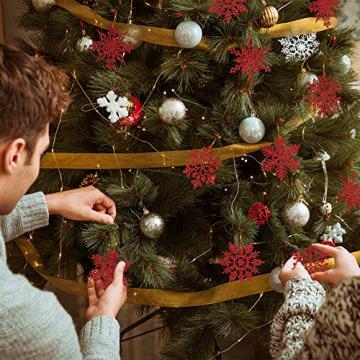 K KUMEED 36 Stück Weihnachtsbaum Deko Schneeflocken Deko Schneeflocken Christbaumschmuck Deko für den Weihnachtsbaum, Schneeflocken Weihnachtsbaum Christbaumschmuck Rot Weihnachtsbaum Schneeflocke - 5