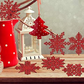 K KUMEED 36 Stück Weihnachtsbaum Deko Schneeflocken Deko Schneeflocken Christbaumschmuck Deko für den Weihnachtsbaum, Schneeflocken Weihnachtsbaum Christbaumschmuck Rot Weihnachtsbaum Schneeflocke - 6