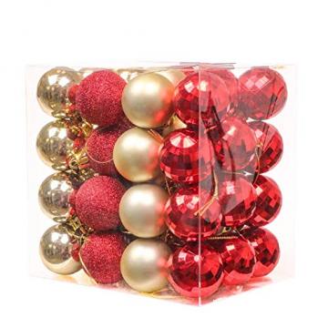Kaishuai 48 Stück Gold deko Christbaumkugeln Set in 4 Farben, Weihnachtsbaumkugeln Gold aus & Rot Baumschmuck Weihnachtsbaum Deko & Christbaumschmuck,Christbaumkugeln Plastik - 1