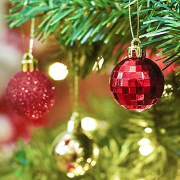 Kaishuai 48 Stück Gold deko Christbaumkugeln Set in 4 Farben, Weihnachtsbaumkugeln Gold aus & Rot Baumschmuck Weihnachtsbaum Deko & Christbaumschmuck,Christbaumkugeln Plastik - 5