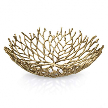 Kaloogo® Obstschale/Brotkorb/Dekoschale aus Metall 42cm (Gold) - 1
