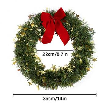 KATELUO Weihnachtskranz, Bowknot Türkranz Weihnachten Weihnachtsdeko Kranz Weihnachtsgirlande mit Kugeln Handarbeit Weihnachten Garland Deko-Kranz, für Hochzeit, Party, Garten, Wanddekoration - 2