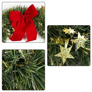 KATELUO Weihnachtskranz, Bowknot Türkranz Weihnachten Weihnachtsdeko Kranz Weihnachtsgirlande mit Kugeln Handarbeit Weihnachten Garland Deko-Kranz, für Hochzeit, Party, Garten, Wanddekoration - 5