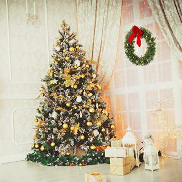 KATELUO Weihnachtskranz, Bowknot Türkranz Weihnachten Weihnachtsdeko Kranz Weihnachtsgirlande mit Kugeln Handarbeit Weihnachten Garland Deko-Kranz, für Hochzeit, Party, Garten, Wanddekoration - 6