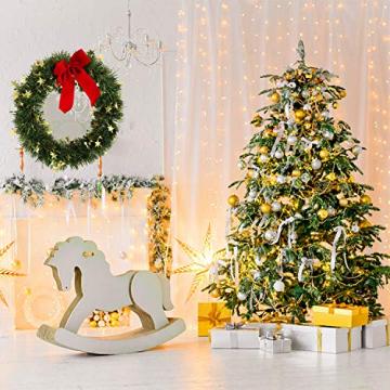 KATELUO Weihnachtskranz, Bowknot Türkranz Weihnachten Weihnachtsdeko Kranz Weihnachtsgirlande mit Kugeln Handarbeit Weihnachten Garland Deko-Kranz, für Hochzeit, Party, Garten, Wanddekoration - 7