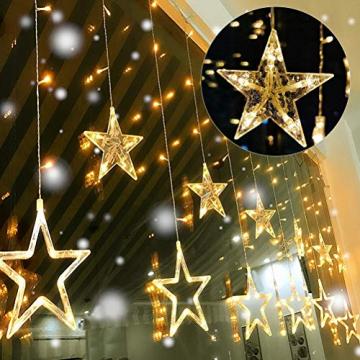 Kelisidunaec LED Lichterketten Vorhang 3.5M Stern Mond Lichter LED Lichterkette Deko, Lichtervorhang Vorhanglichter Fenster Schlafzimmer Wohnzimmer Zimmer Hochzeit Party Terrasse Dekoration - 5