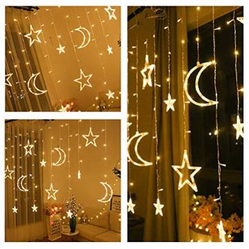 Kelisidunaec LED Lichterketten Vorhang 3.5M Stern Mond Lichter LED Lichterkette Deko, Lichtervorhang Vorhanglichter Fenster Schlafzimmer Wohnzimmer Zimmer Hochzeit Party Terrasse Dekoration - 8